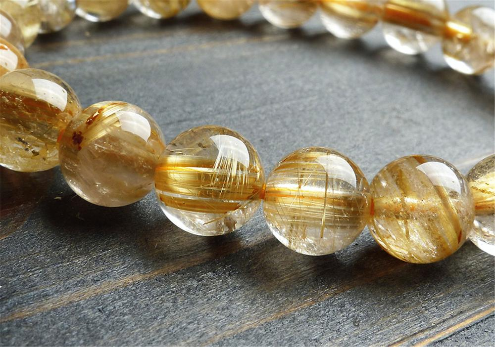 9mm Natural Brazil Gold Rutilated Quartz Crystal Titanium Woman Man Wealthy Round Beads Bracelet Jewelry Bangle AAAA in Bracelets Bangles from Jewelry Accessories