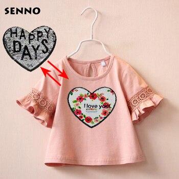 مزدوجة الجانب بريق عكسها الترتر القلب الفتيات طفل الرضيع الطفل الاطفال الطفل فتاة قمم T قميص الكشكشة نصف كم T قمصان