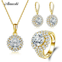 AINUOSHI 10K Solid Yellow Gold Jewelry Set Round Cut Pendant Halo Ring Drop Earring Engagement Wedding Lovers Jewelry Set Gift