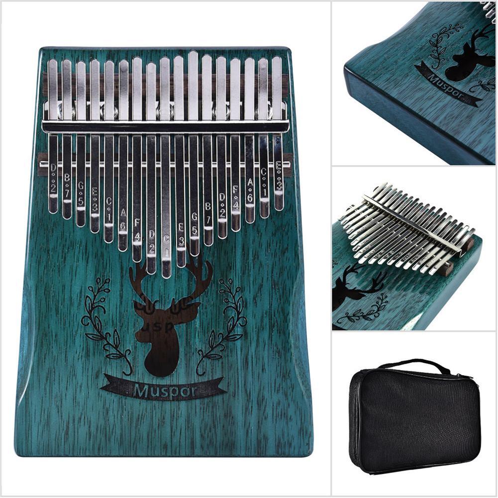 High Quality 17 Key Kalimba Mbira Calimba African solid Mahogany Thumb Piano Finger Reindeer Bag Christmas Instrument Gift New