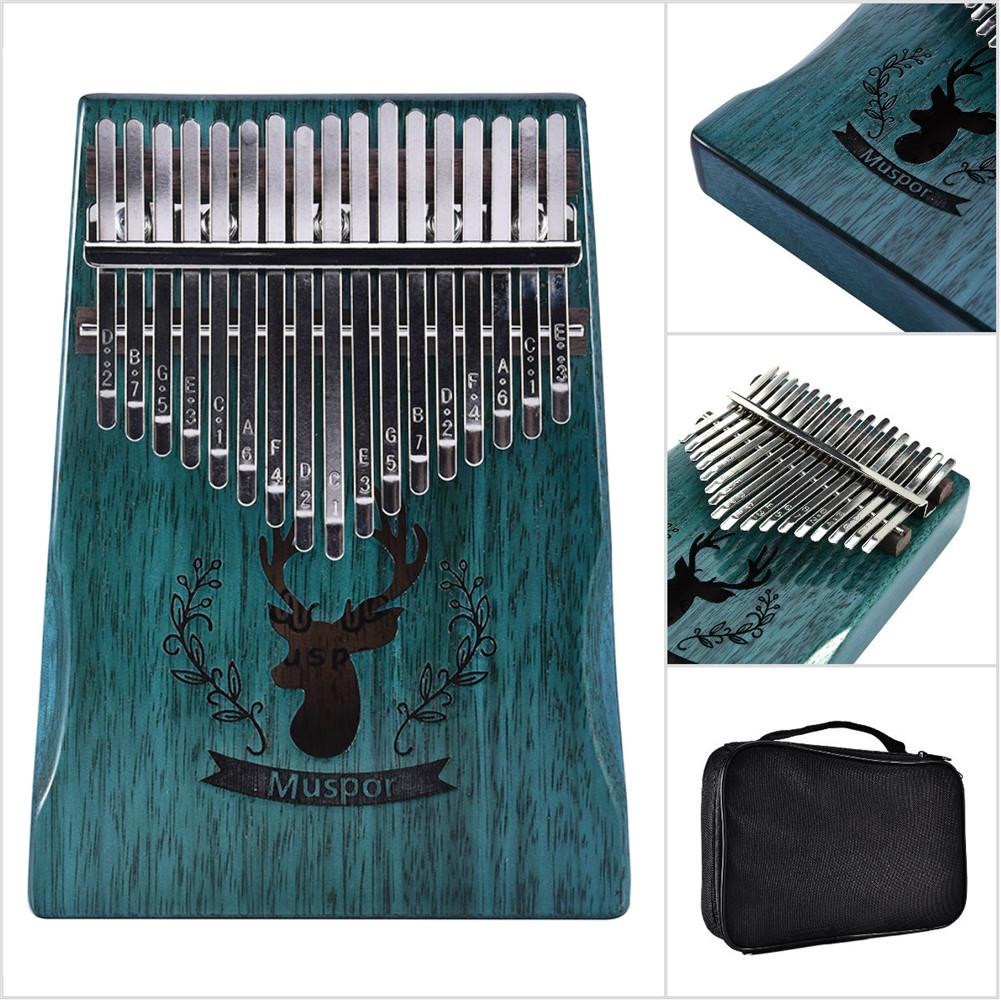 High Quality 17 Key Kalimba Mbira Calimba African solid Mahogany Thumb Piano Finger Reindeer Bag Christmas Instrument Gift New