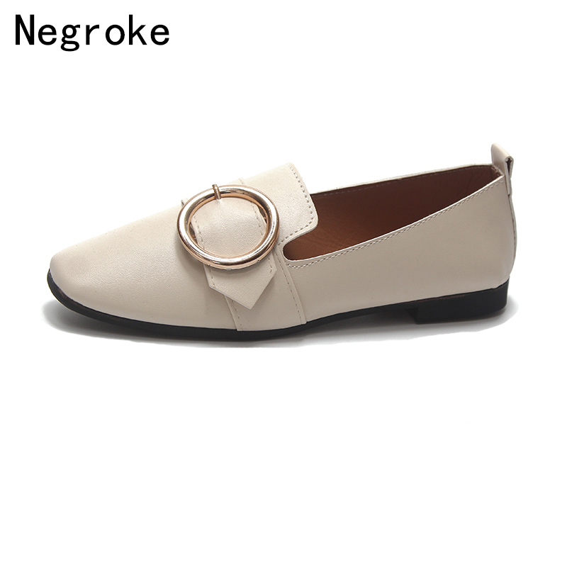 2018 Fashion Women Flats Shoes Woman Slip-On Casual Boat Shoes Ballet Female Belt Buckle Comfy Soft Leather Zapatos Mujer casual ballet leopard pattern non leather flat shoes women fashion boat shoes zapatos mujer tacon sapato flats large size 4 16