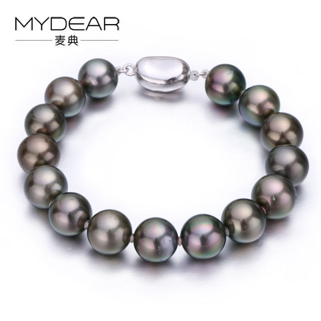 MYDEAR Fine Pearl Jewelry Fashional 925 Sterling Silver Bracelet Bangle With Pearl 10-11mm Natural Tahitian Pearl Making Jewelry