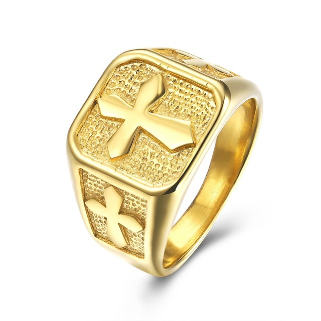 316l Stainless Steel Masonic Gold Ring Men S Jewelry