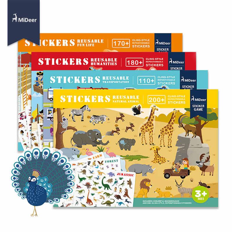 Mideer novo reutilizável adesivos livro jogo almofada coleção crianças brinquedos educativos para crianças puzzle presente removível cenas de fundo