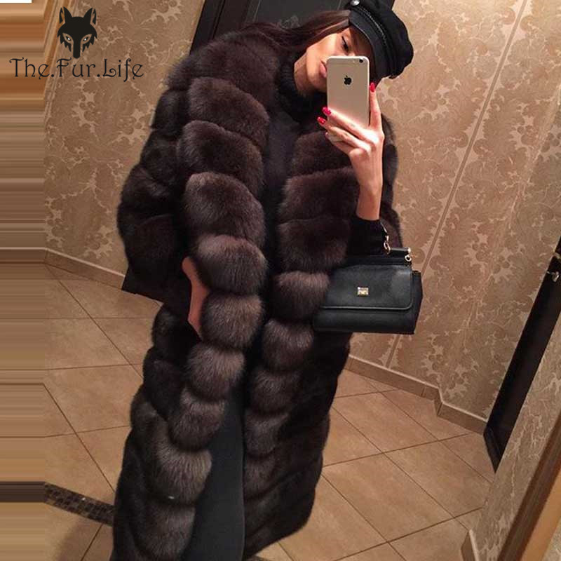 Furealux Luxury New Arrive Sable Color Real Fox Fur Long Coat Removable Bottom For Women Big Fox Fur Coats For Ladies Fur