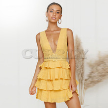 Cuerly High Quality 2019 Yellow Summer Women Backless Sashes Mini Cake Dress Sleeveless V-neck Ruffles Party Dress vestidos L8