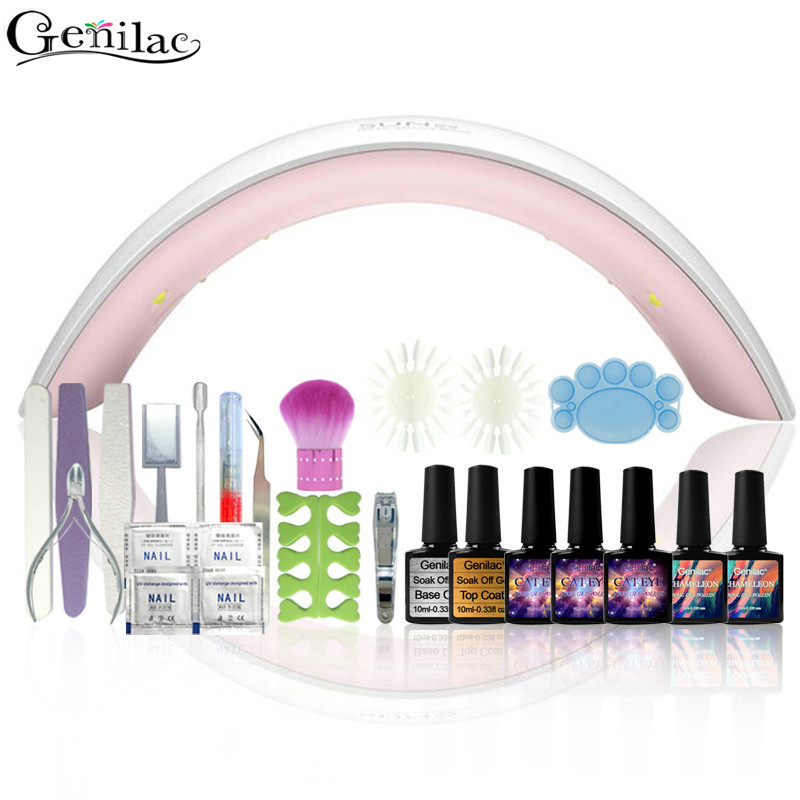 Genilac Full Nail Art Tools Cure 9C 24W UV Lamp Gel Polish Soak Off Base Coat Top Coat Gel Nail Nail Manicure Kits Nail Tool nail art manicure tools set uv lamp 10 bottle soak off gel nail base gel top coat polish nail art manicure sets
