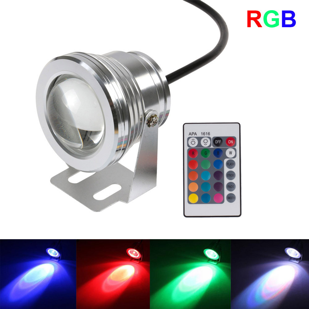 10pcs 10W 12v underwater RGB Led Light 800LM Waterproof IP68 fountain pool Lamp 16 color change