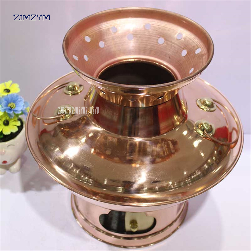 38cm China Sichuan Roast rinse one copper hot pot thickened MongoljEn / Chinese charcoal fondue pot handmade Copper cooking