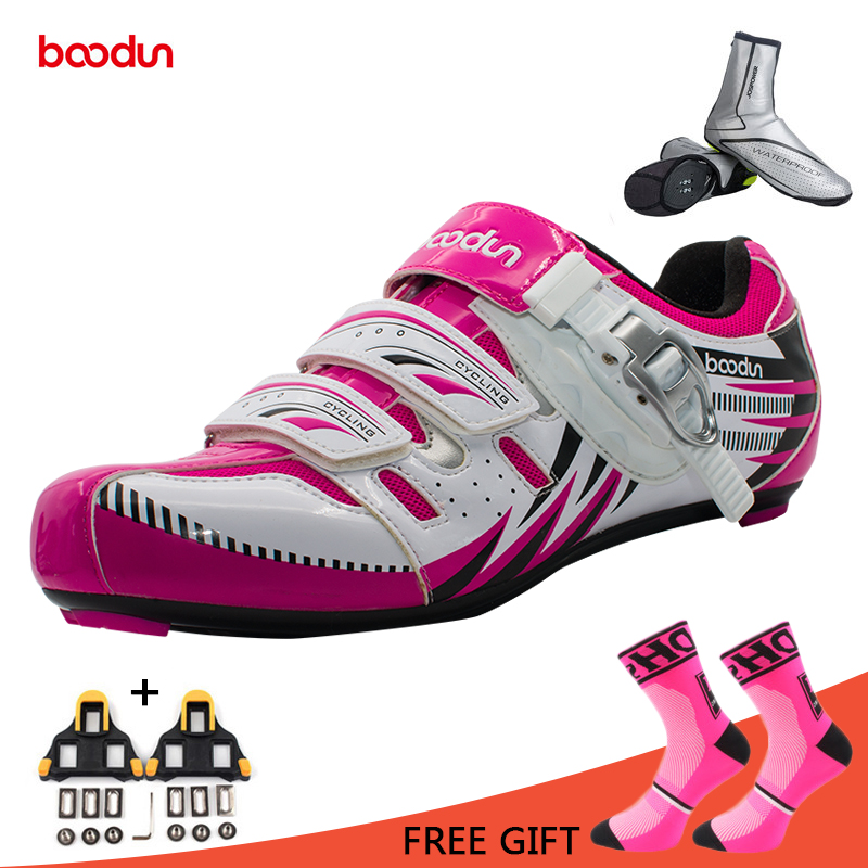Boodun Road Cycling Shoes Women Breathable Bike Shoes Self-Locking Bicycle Shoe Athletic Racing Sneakers Sapatilha Ciclismo inbike road cycling shoes men 2018 carbon fiber road bike shoes self locking bicycle shoe athletic sneakers sapatilha ciclismo