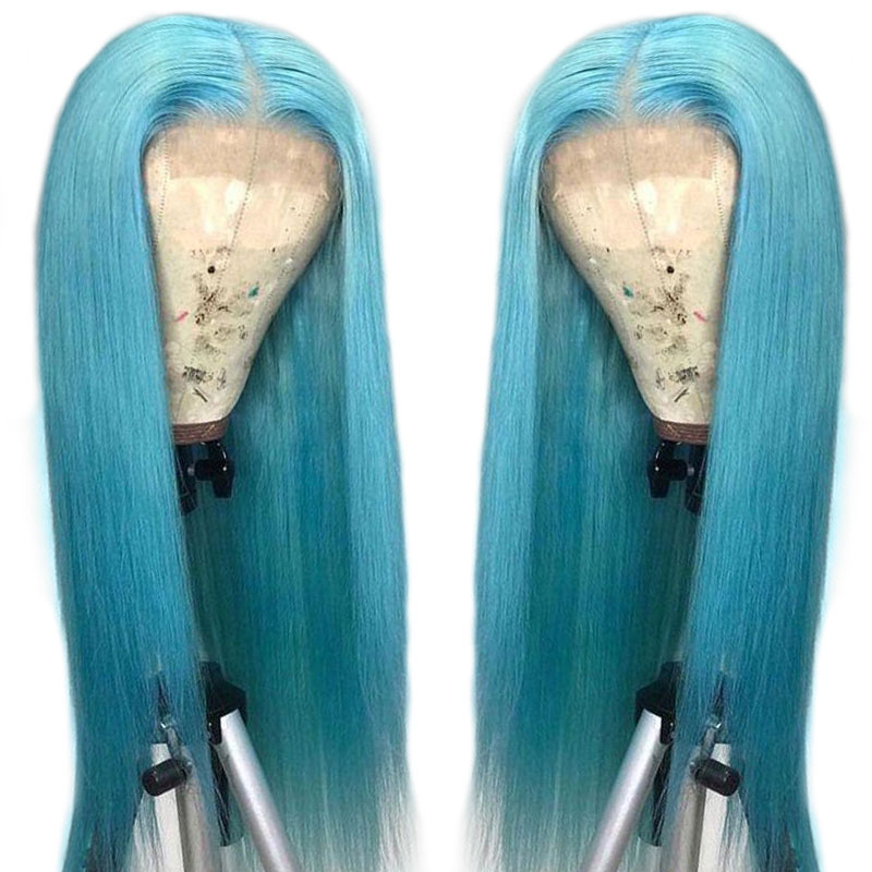 Customized Lace Front Human Hair Wigs 13 4 Light Blue Lace Frontal Wig Brazilian Straight Hair