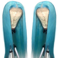 Customized Lace Front Human Hair Wigs 13*4 Light Blue Lace Frontal Wig Brazilian Straight Hair Wig For Black Women Remy