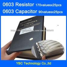 0603 SMD резистор 0R~ 10 м 1% 170valuesx25 шт = 4250 шт+ конденсатор 90valuesx25 шт = 2250 шт 0.5пФ~ 2,2 мкФ образец книги
