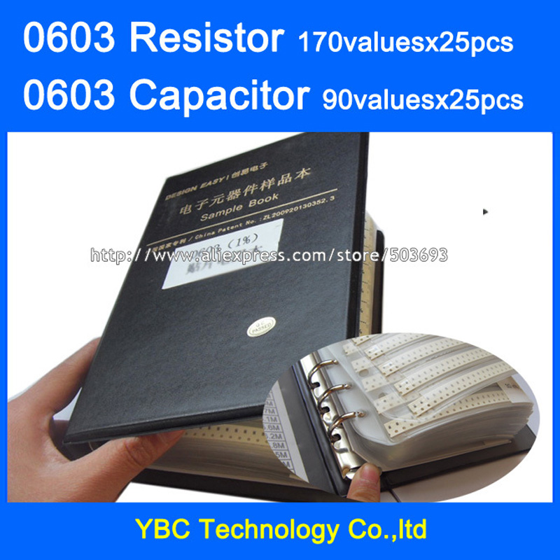 0603 SMD Resistor 0R~10M 1% 170valuesx25pcs=4250pcs + Capacitor 90valuesX25pcs=2250pcs 0.5pF~2.2uF Sample Book