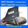0603 SMD YAGEO Resistor 0R ~ 10 M 1% 170valuesx25pcs = 2250 pcs = 4250 pcs + muRata Capacitor 90valuesX25pcs Livro Da Amostra de 0.5PF ~ 2.2nF