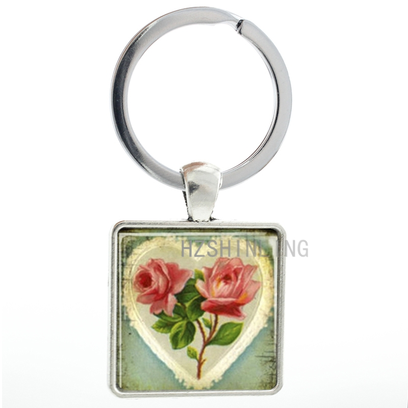 Romant vintage Flower Love Heart keychain beautiful women charms square pendant key chain ring holder gifts for wife AA73