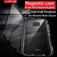 Magnetic Case Armor 360 Full Protect For Huawei Mate 20 Pro Metal Bumper phone Shockproof Transparent glass