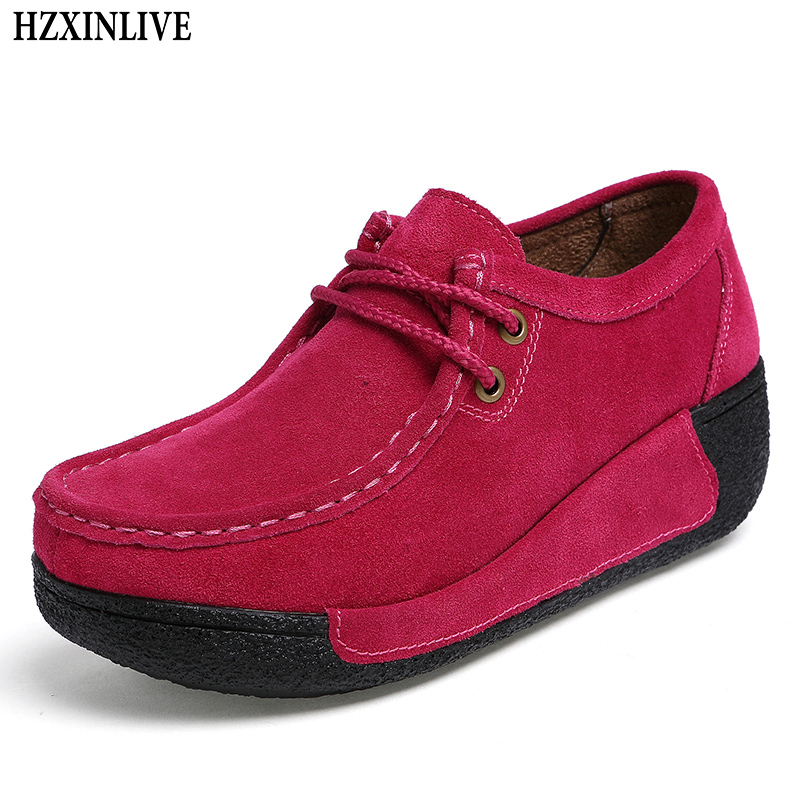 HZXINLIVE 2018 Women Flats Shoes Round Toe Sneakers Breathable Leather Suede Casual Shoes Lace Up Flat Moccasins Large Size 7182 hzxinlive 2018 flat shoes women breathable flats shoes for women ladies casual platform female fashion summer sneakers footwear