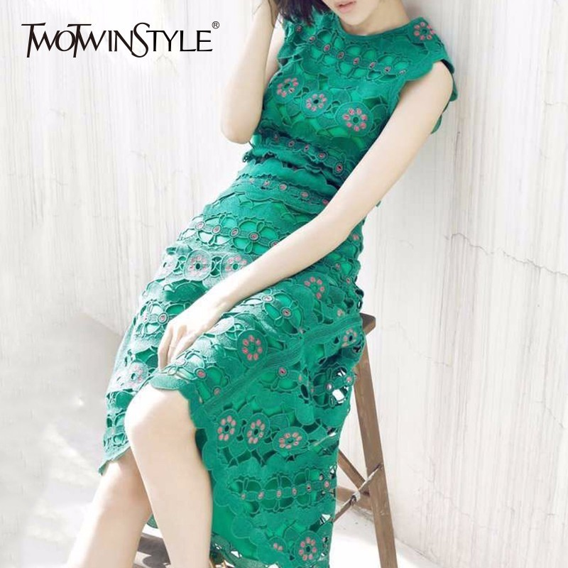 TWOTWINSTYLE Floral Sleeveless Summer Dress Women Hollow Out Sexy Party Dresses Female 2019 Spring Elegant Clothing