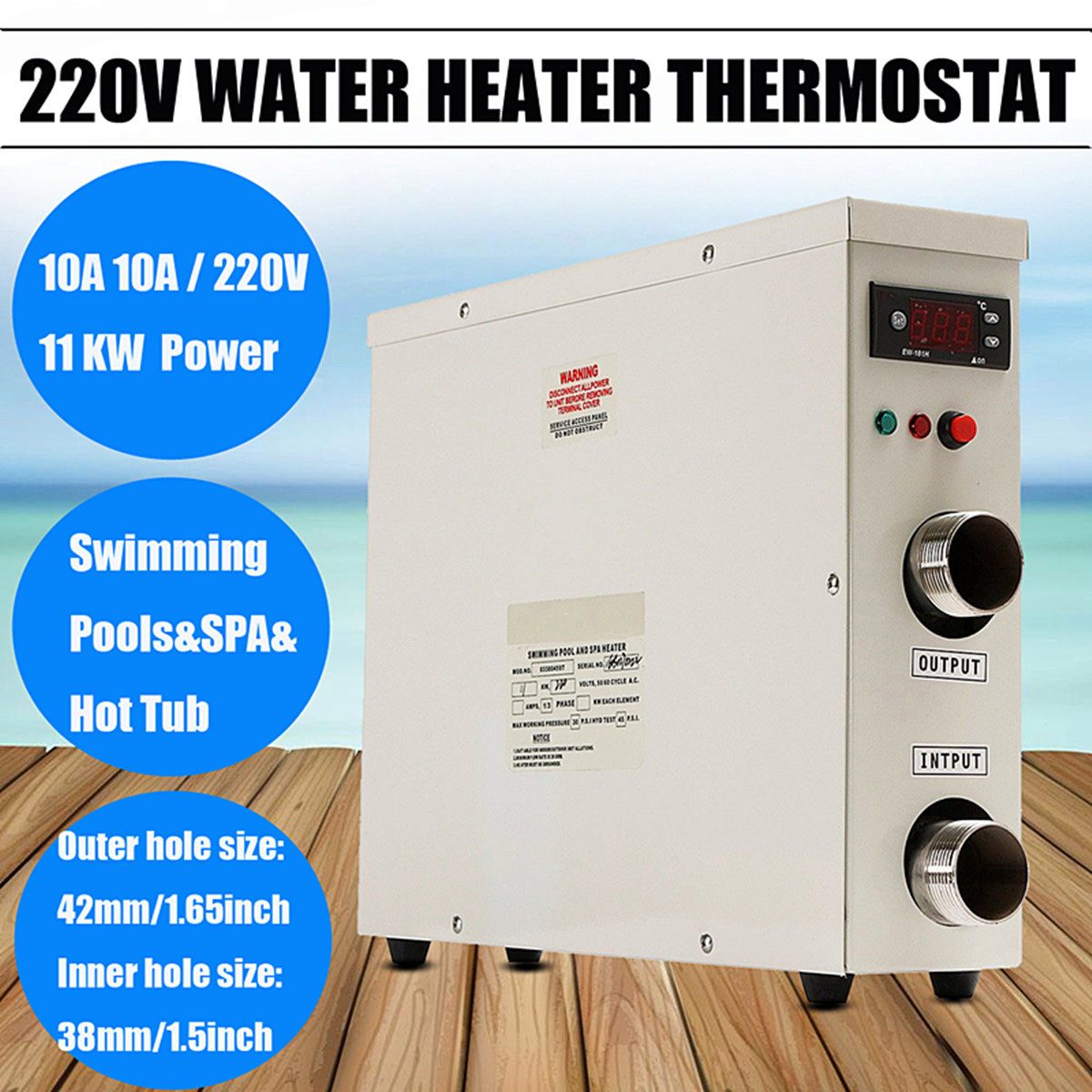 11KW 220V AC Electric Water Heater Thermostat For Swimming Pool SPA Hot Tub Bath цена
