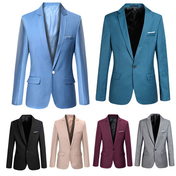 Men Blazer Solid Color Slim