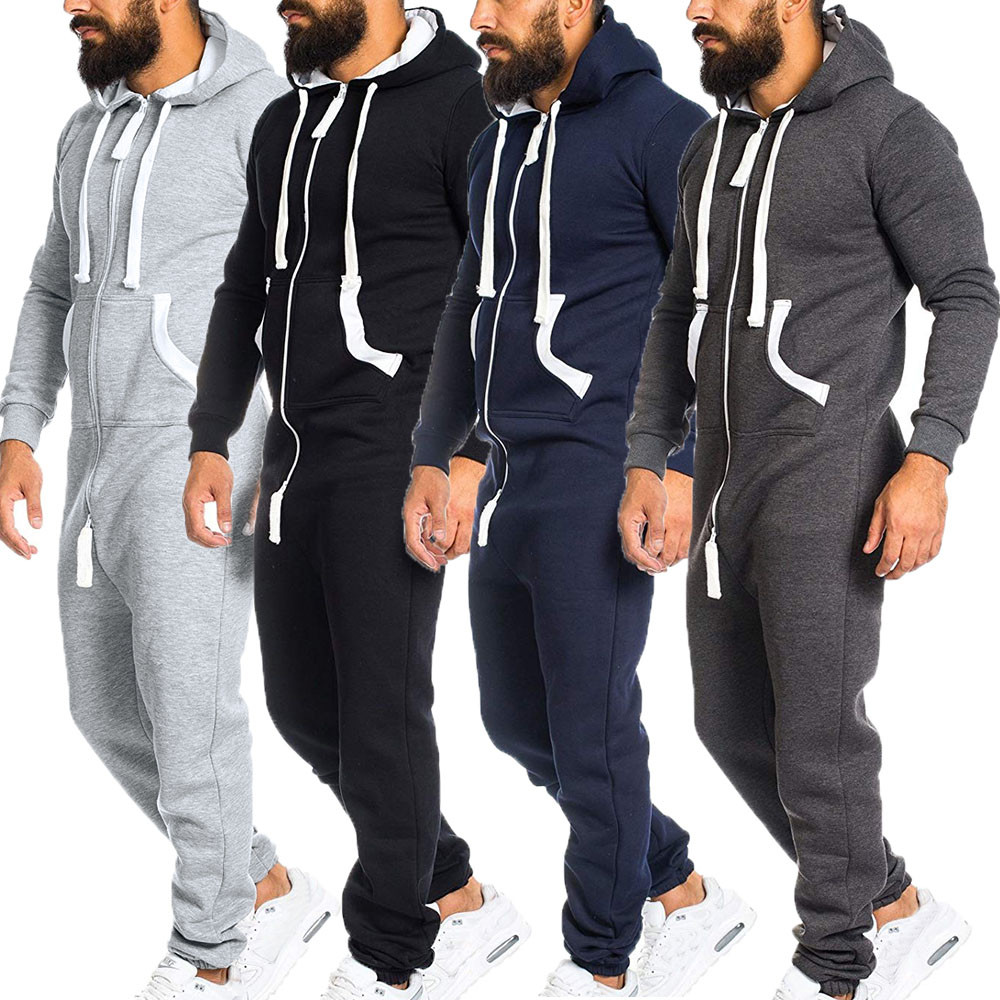 Lisin Mens Unisex Jumpsuit One-Piece Garment Non Footed Pajama Playsuit Blouse Hoodie