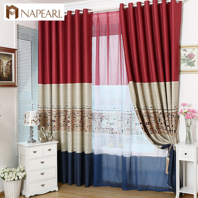 US $7.09 49% OFF|Blackout curtains cartoon child bedroom window dot plane  red brown curtain with tulle modern window treatment curtains door-in ...