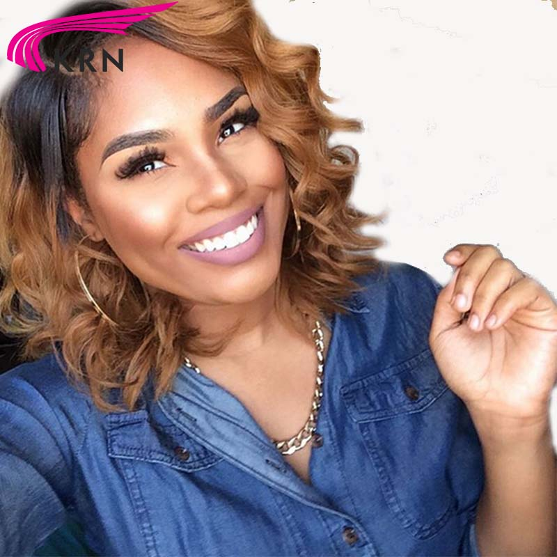 Ombre Human Hair Bob Wigs Brazilian Remy Hair Lace Front Wigs Short Wigs With Baby Hair