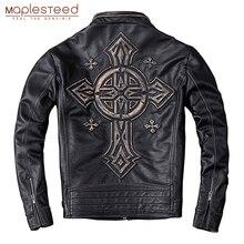 MAPLESTEED במצוקה עור מעיל גברים בציר אופנוע מעיל 100% טבעי עגל עור Mens מנוע מעילי Biker מעיל M202