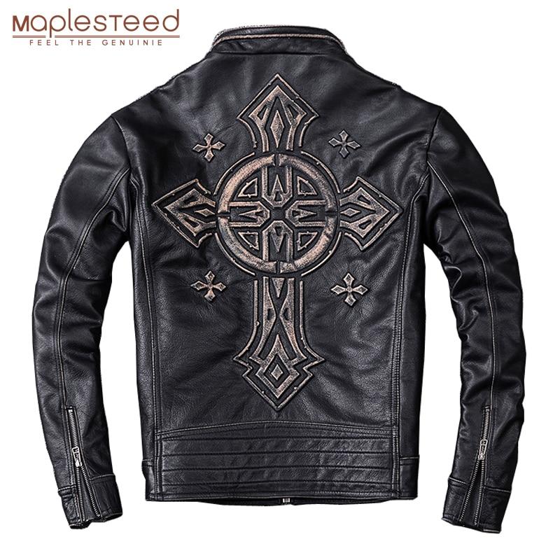 MAPLESTEED Distressed Leather Jacket Men Vintage Motorcycle Jacket 100% Natural Calf Skin Mens Motor Jackets Biker Coat  M202