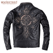 MAPLESTEED Distressed Leather Jacket Men Vintage Motorcycle Jacket