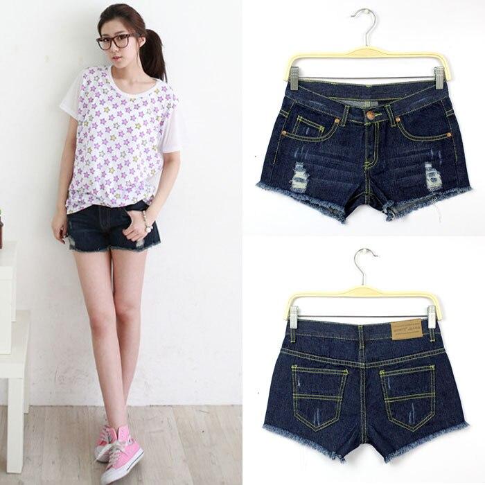 a4cdcb7a9a 2015 Summer Korean Juniors Denim Overalls Shorts Cut Off With Hole Dark  Blue Shitsuke Knickers Denim Jeans Shorts For Women