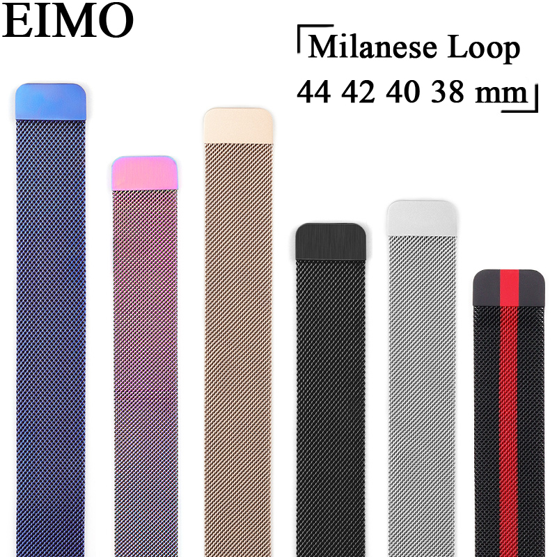 Milanese Loop correa for Apple Watch Band 44mm 42mm Iwatch series 4/3/2/1 40mm 38mm Stainless Steel Bracelet strap Watchband so buy for apple watch series 3 2 1 watchbands 38mm belt 42mm stainless steel bracelet milanese loop strap for iwatch metal band