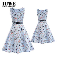 Matching Mother Daughter Clothes Blue O Neck Flower Girl Mommy And Me Dresses Party Infant2017 New