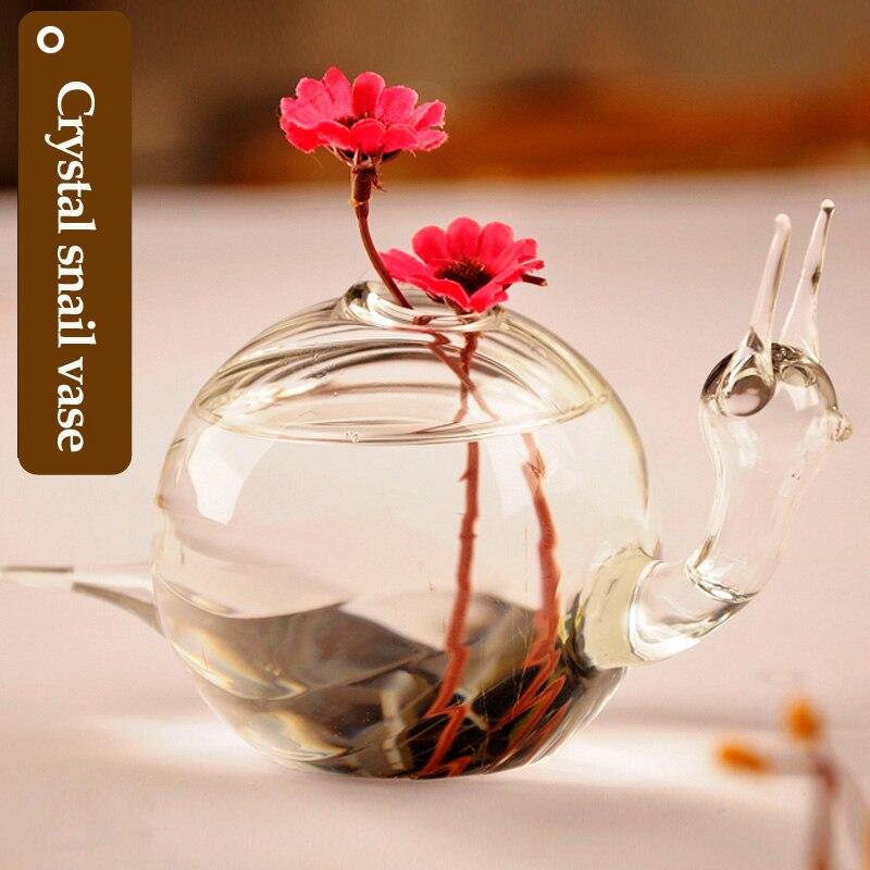 fashion exquisite decorative glass flower vases for home flower vases cheap decorative glass vases snail shape - Decorative Glass Vases