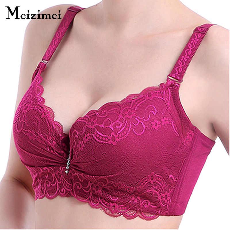 20076b6d468 Meizimei Women Sexy Adjustable bh Push up Lace Bralette Plus size Weeding  sheer Bra Big size