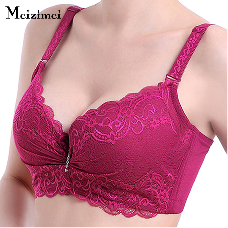 Meizimei Women <font><b>Sexy</b></font> Adjustable bh Push up Lace Bralette Plus size Weeding sheer <font><b>Bra</b></font> Big size Underwear Women Nylon Lolitas <font><b>XXX</b></font> image