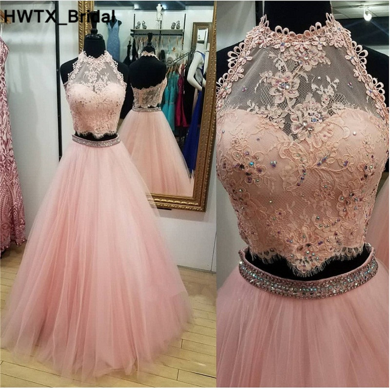 Pink Long Wedding Guest Dresses 2018 Backless Applique Lace Cheap Bridesmaid Dress Two Pieces Women Party Gowns Custom Made