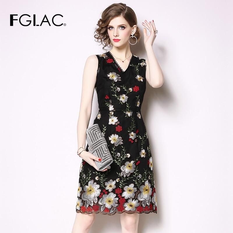 FGLAC Women dress Fashion Casual High end embroidered v neck vintage dress Elegant Slim party dress
