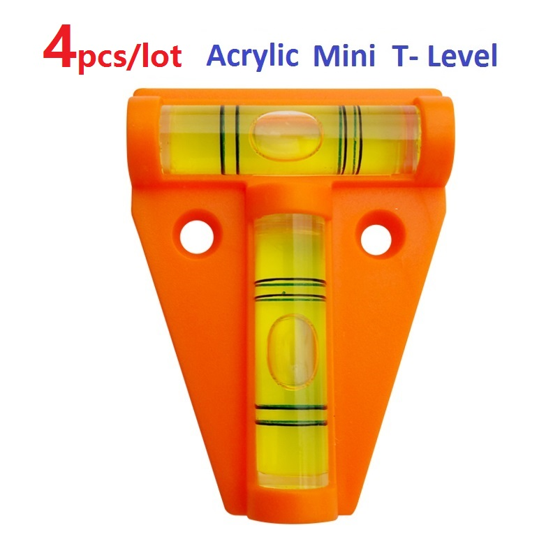 4pcs/lot Orange Acrylic T-Level Tool RV Camper Tralier Motorhome Truck Boat Console Table Measurement Mini Level Bubble