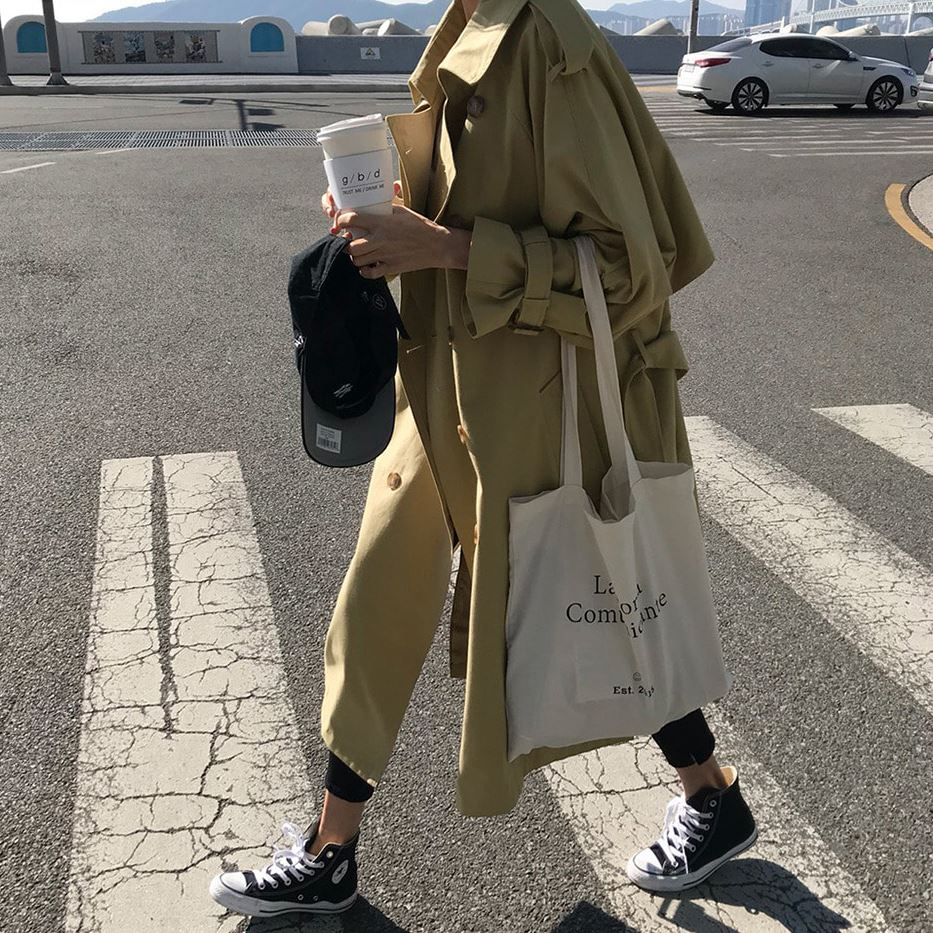 Spring Autumn New Women's Casual Trench Coat Oversize Double Breasted Vintage Outwear Sashes Chic Cloak Female Windbreaker 8