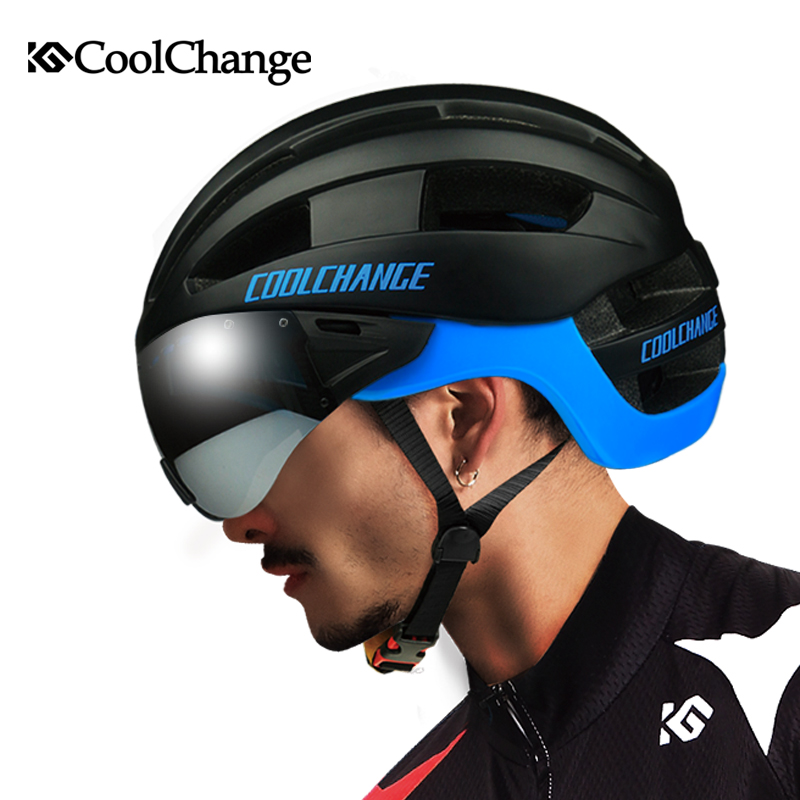 CoolChange Ultralight Goggle Cycling Helmet EPS Integrally-molded 16 Vents Bicycle MTB Bike Helmet with Glasses Casco Ciclismo rockbros bicycle helmet ce certification cycling helmet integrally molded bike helmet casco ciclismo 56 62 cm