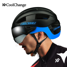 CoolChange Ultralight Goggle Cycling Helmet EPS Integrally-molded 16 Vents Bicycle MTB Bike Helmet with Glasses Casco Ciclismo