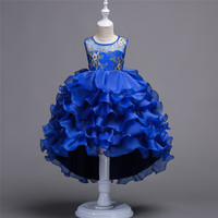 Elegant Layer Princess Girls Pageant Dresses O neck Applique Trailing Ball Gown Pageant Dresses for Teens Birthday Floral Dress