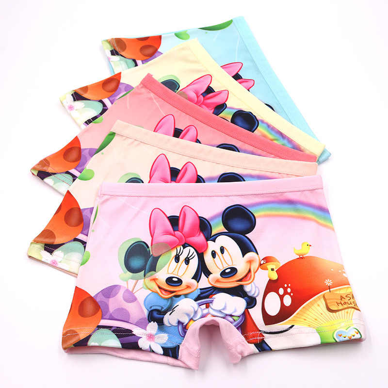 5 pçs/lote Crianças Meninas 3D Cueca Crianças Cuecas Infantis de Algodão Aconchegante Bebê Dos Desenhos Animados Mickey Bonito Menina Calcinha Boxer Briefs3-10T