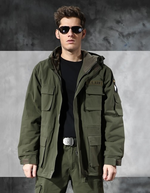 Flight Tracker German Army Military Jacket Men Winter Cotton Jacket Thermal Trench With Hood Jackets Fleece Lining Coat Sports & Entertainment