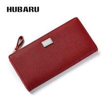 Купить с кэшбэком HUBARU New Fashion Long Women Wallets Snap Button PU Zipper Wallet Women's Purse Two Fold Female Wallet Phone Pocket Card Holder