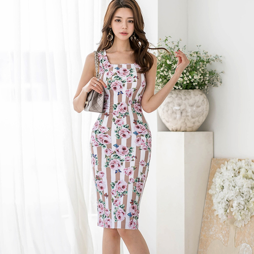 J41046 New Arrival 2018 Summer Dress OL Lady Fashion Floral Print Dresses