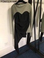 FOMOLAYIME Модные женские Футболки 2018 новое поступление с круглым вырезом в стиле пэчворк с длинным рукавом нерегулярные футболки для Для женщи